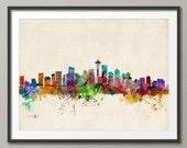 Seattle Skyline, Seattle Washington Cityscape Art Print (531)