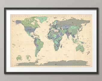 Political Map of the World Map, Art Print, 24x36 inch (479)