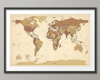 Political Map of the World Map, Art Print, 24x36 inch (480)