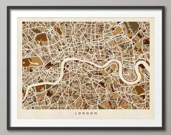 London Map, London Street Map England, Art Print (439)