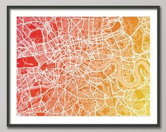 London Map, Street Map of London England, Art Print (771)
