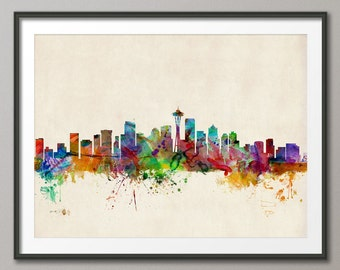 Seattle Skyline, Seattle Washington Cityscape Art Print (531)