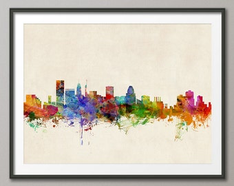 Baltimore Skyline, Baltimore Maryland Cityscape Art Print (151)