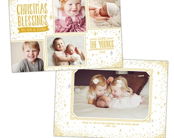 INSTANT DOWNLOAD - Christmas Holiday Card Photoshop template - e927