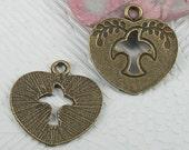 4 Heart Charms Dove Charms Antique Bronze tone 25 x 24 mm - bz159