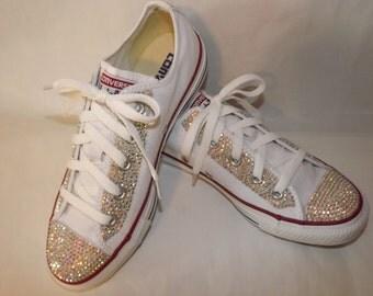 Custom Bridal Bling Rhinestone Chuck Taylor Converse All Star Low Top