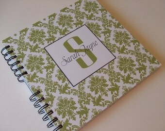 Baby Book |  Baby Memory Album | Green Damask Wire Bound Baby Memory Book