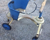 Vintage Ride on Toy, Baby Walker, Roll A Bi, Wooden Toy, Photo Prop, Blue and White Cutie