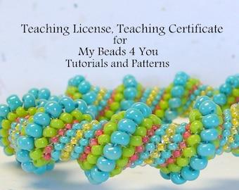 Teaching License,Teaching Certificate, Permission to Teach Beading Classes, Tutorials,Teaching Pattern, Beading Certificate, Certificate