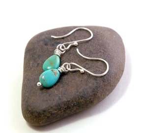 Turquoise Earrings, Sterling Silver Jewelry, Green Turquoise, Small Earrings, Gift for her, December Birthstone