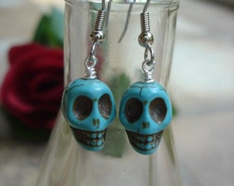 Turquoise Skull Earrings, Turquoise Howlite, Skull Jewelry, Day of the Dead, Halloween Earrings