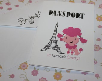 Pink Poodle in Paris  Passport Invitations