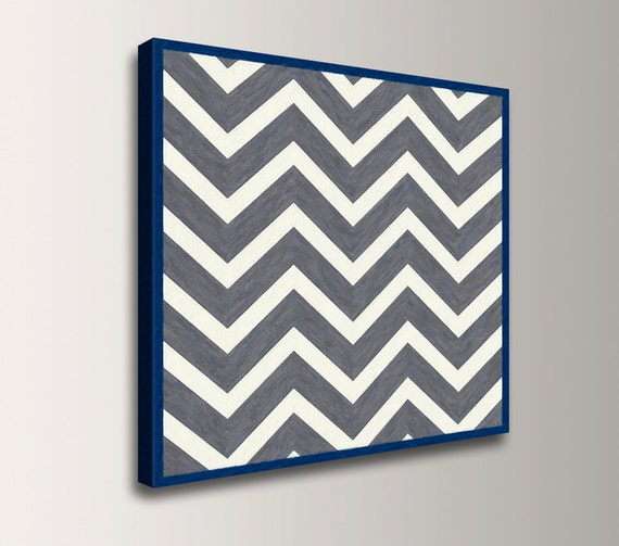 "Chevron Digital Print - Canvas Print - Grey and White Zig Zag Pattern With Blue Border - Geometric Wall Art - ""ILLUSION"""