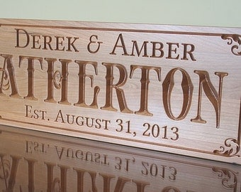 5th Anniversary Sign, Custom Wedding Sign, Custom Wedding Date Sign, 5 Year Anniversary Gift, Benchmark Custom Signs, Cherry BN
