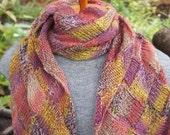 Entrelac Scarf, Hand Knit Entrelac, Pink Entrelac Scarf, Pink Entrelac, Multicolor Entrelac, Wool Entrelac, Pink Wool Entrelac