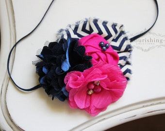 Hot Pink and Navy flower headband, navy headbands, baby flower headbands, photography prop, pink headbands