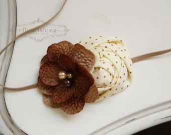 Brown and Cream Flower Headband, baby headbands, newborn headbands, fall headbands, photography prop, fall heaadbands