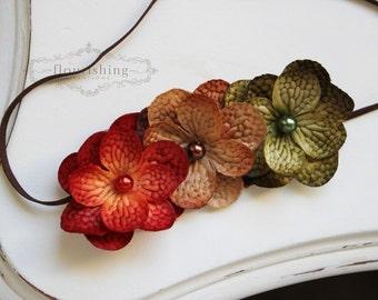 Shades of Autumn- Hydrangea flower headband, fall headbands, newborn headbands, brown headbands, orange headbands, brown headbands