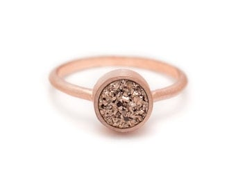 Rose Gold Druzy Quartz in Rose Gold Ring - 18k Rose Gold Vermeil - Bezel - Sizes 4.5, 5, 5.5, 6, 6.5, 7, 7.5, 8, 8.5, 9, 9.5 and 10