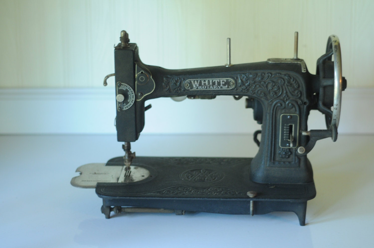 white rotary sewing machine