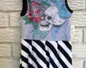 6 month Tattoo Skull Sleeveless Knit Dress, with Black, White Stripe Diagonal Skirt. Black Friday/Cyber Monday/Free Shipping /Gifts under 50