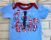 18 months Short Sleeve Dr. Seuss Cat in the Hat Upcycled Shirt: red, blue, white, Black Friday/Cyber Monday/Free Shipping /Gifts under 50