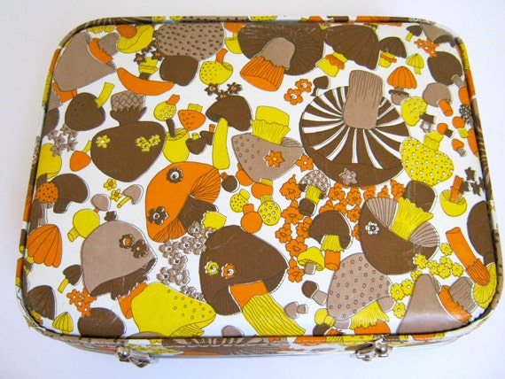 Vintage 70s Psychedelic Mushroom Suitcase Hard Shell