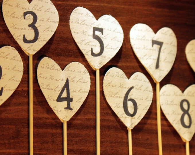 Table Numbers, Fabric Script Heart, Set of 1 to 12, Perfect for Rustic, Vintage, Country and Simple Wedding Decor.