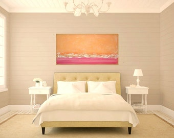 Painting, Art, Acrylic Abstract Art Original Painting on Canvas by Ora Birenbaum Titled: DREAMSICLE 4 24x48x1.5""