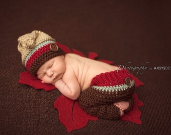 Newborn Knot Top Hat & Pants - Striped Hat - Baby Boy-Photo Prop