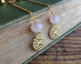 Light Pink Clip On Earrings, Gold Chain, Long Chain Clip On, Gold Screw Back ear clips