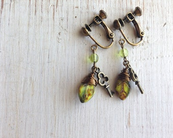 Yellow Jet Leaf with Key Charm Clip On Earring, Leaf Dangle Clip Earrings, Screw Back Clip on