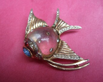 Coro Sterling Jelly Belly Fish Brooch c 1940