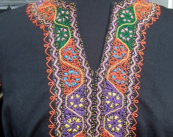 1970s Embroidered Black Knit Sleeveless Gown
