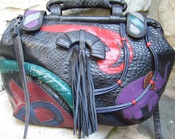 1980s Huge Trendy Embossed Vinyl Shoulder Bag