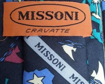 MISSONI Mens Silk Print Necktie Made in Italy