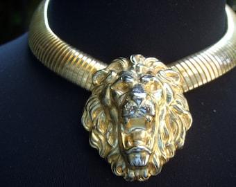Ornate Gilt Repousse Lion Choker Necklace