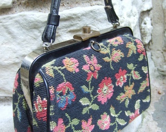 Stylish Retro Tapestry Flower Handbag c 1960