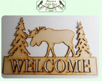 Moose Welcome (Medium) Wood Cut Out - Laser Cut