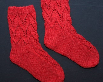 Pure wool SOCKS with lace pattern (the openwork is viscous) - gift WRAPPING for FREE