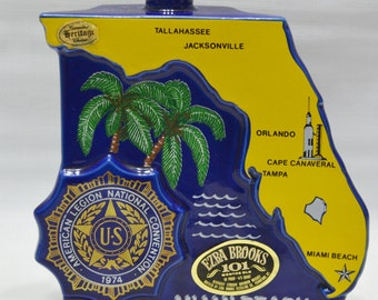 Vintage Wiskey Decanter - American Legion National Convention - 1974 - Florida - Heritage China - Ezra Brooks - Souvenir - Miami Beach