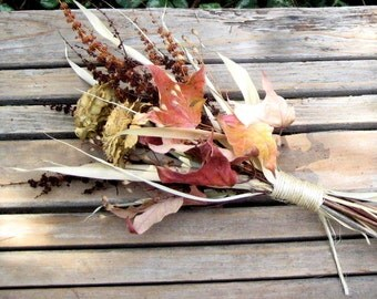 Dried Fall Bouquet, Fall Wedding Bouquet, Cedar Rose Gift Bouquet - Fall Fields - Cedar Rose, Dock, Bamboo & Maple
