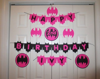 Batgirl Happy Birthday Banner personalized with name