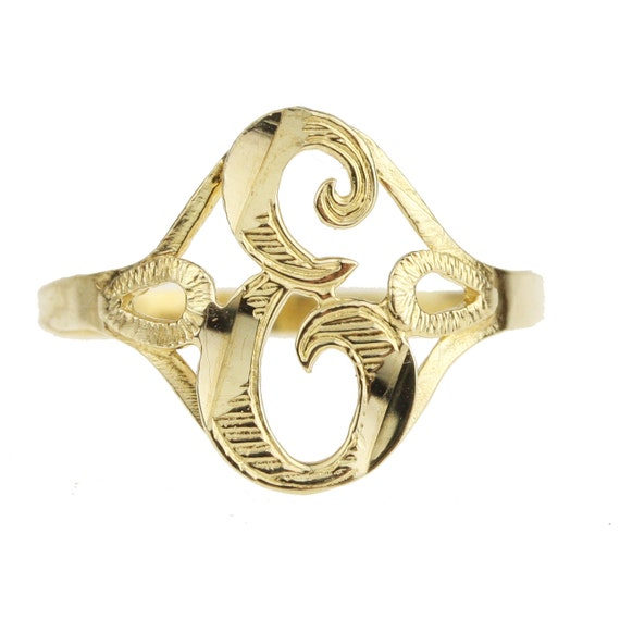 Vintage gold letter e initial signet ring monogram for Letter e ring