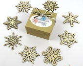 2013 Collection - Wooden Laser-Cut Holiday Snowflake Ornaments - 3 Inch Diameter - Set of 8 in Kraft Paper or Glossy White Gift Box