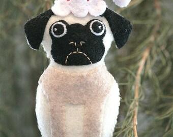 Super Cute Felt Pug Ornament with Santa Hat