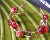 Hand wrapped Gold wire, Red Glass beads cuff bracelet