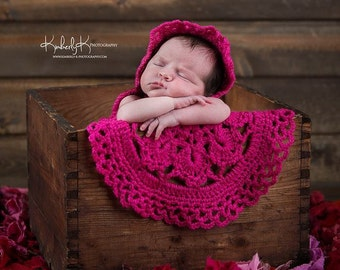 Newborn Bonnet and Round Mini Blanket Set -  Infant Baby Girl Bright Pink / Photography Prop / Knitted / Crochet