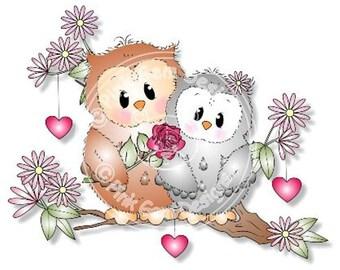 Digital (Digi) Cute Owl Stamp 'Ozzie in Love' . Makes A Cute Valentine Project