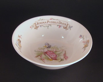 Royal Albert, Bone China, Cereal Bowl, Jemima Puddle-Duck, Beatrix Potter, Baby Present, Collectible, Vintage